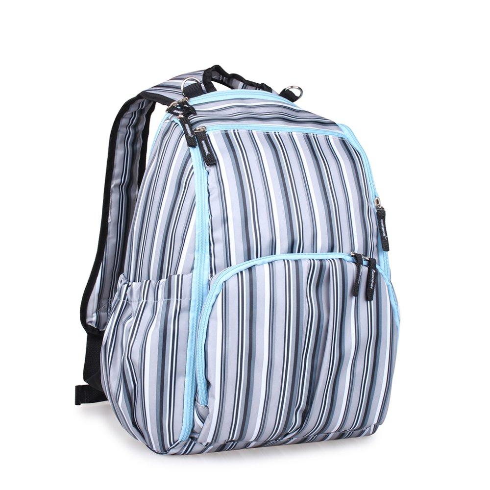 BolehDeals Multifunctional Travel Diaper Backpack Bag Waterproof Mummy Bag Blue Striped - intl