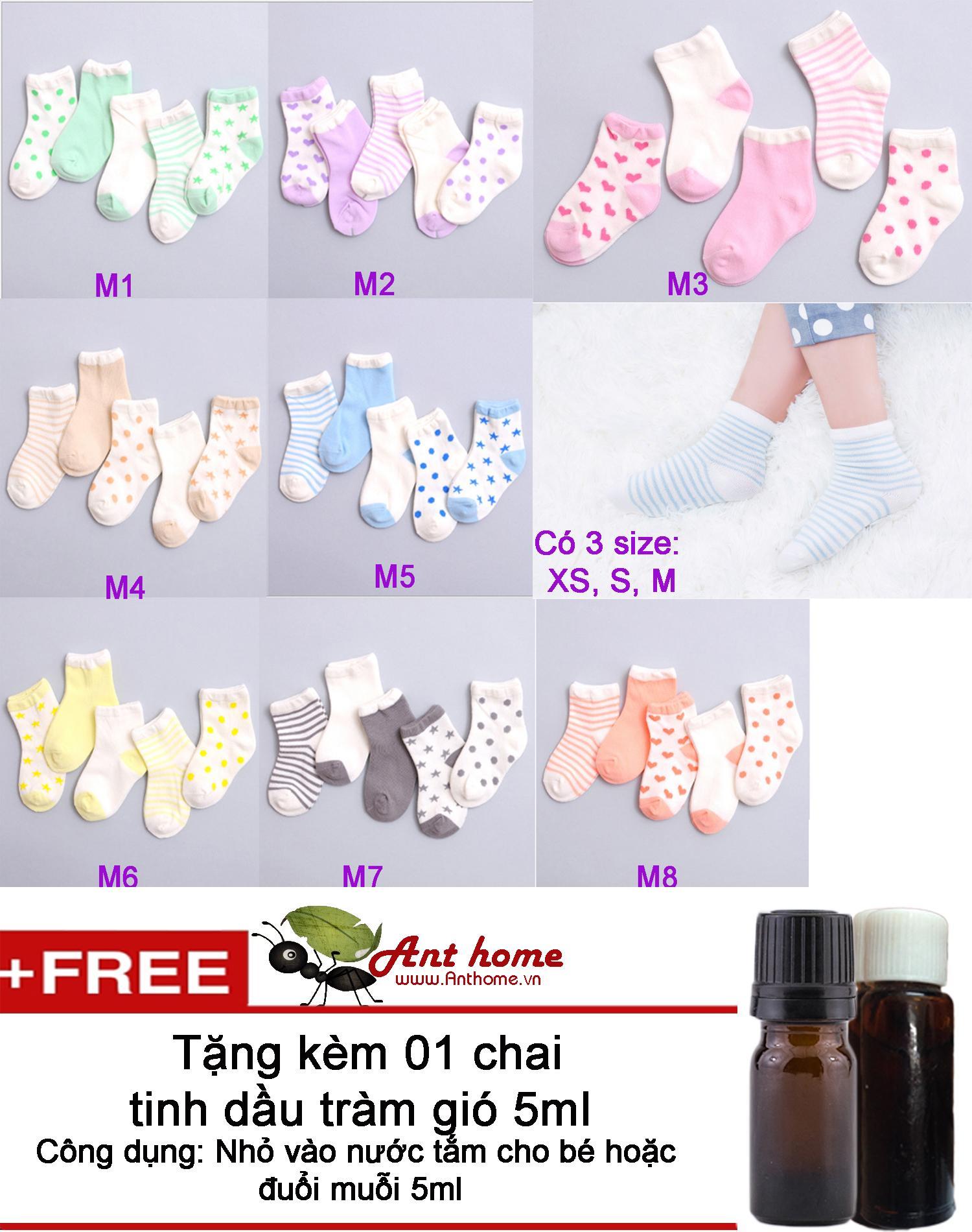 Combo 5 đôi vớ (tất) bé gái từ 0-1 tuổi size XS mẫu M2 + Tặng 1 chai tinh dầu tràm gió 5ml
