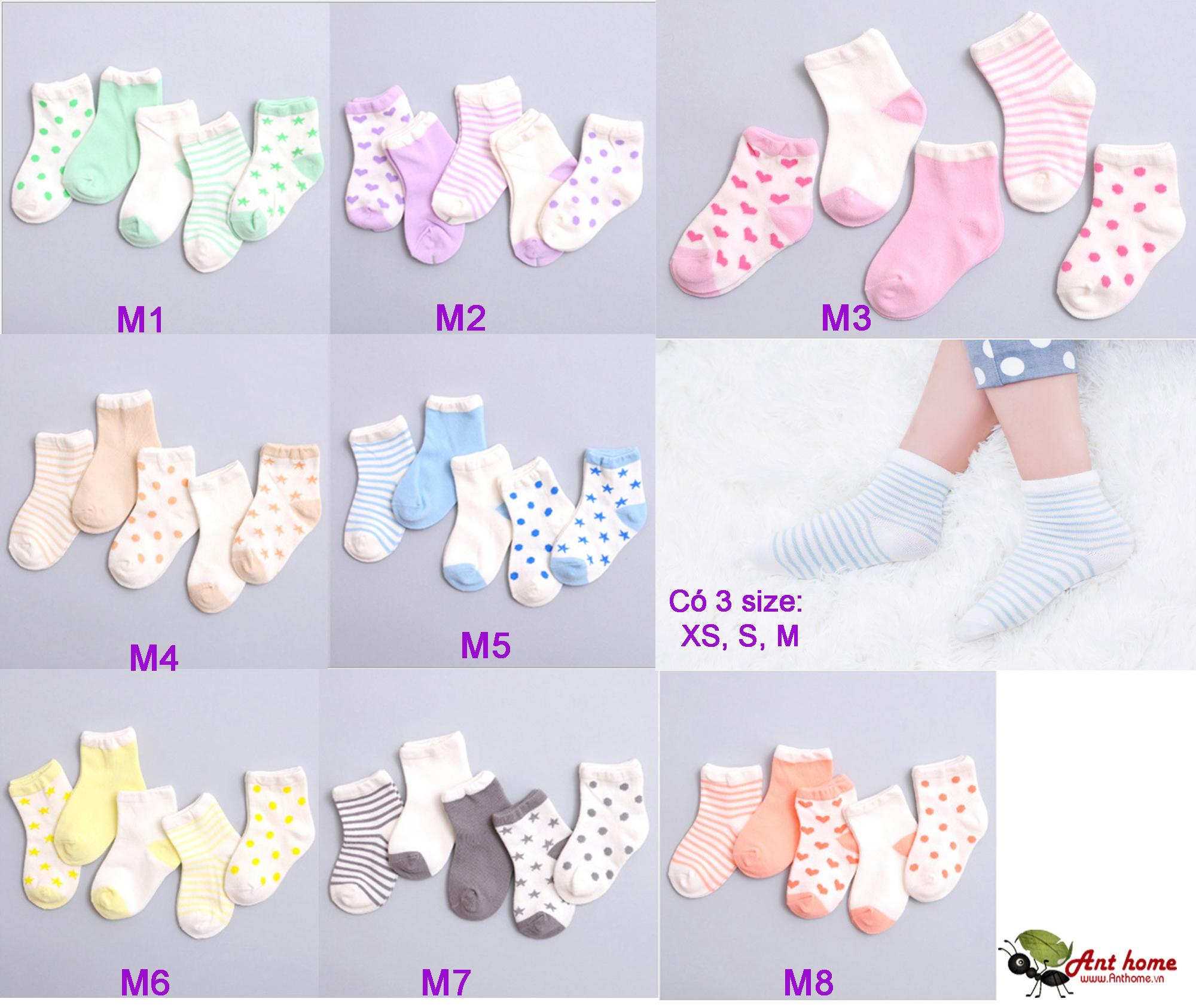 Combo 5 đôi vớ (tất) bé gái từ 0-1 tuổi size XS mẫu M5