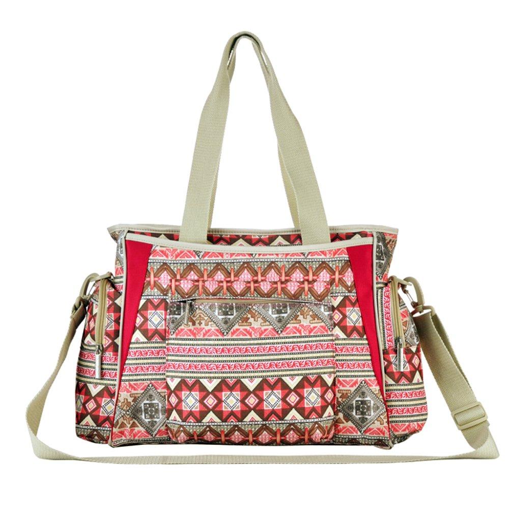 Diaper Nappy Changing Mummy Handbag Bohemian Style Set of 5 (Red) - Intl