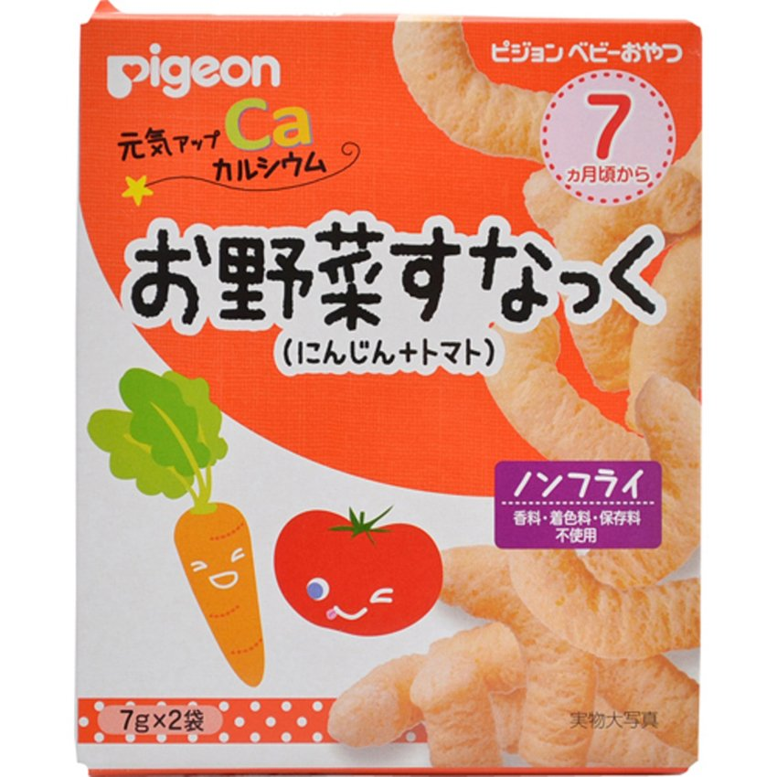 Hộp 2 gói Bánh ăn dặm Pigeon vị cà rốt & cà chua cho bé 7 tháng 7g (Cam trắng)