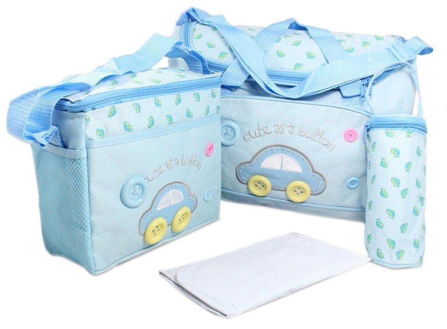 Set Baby Diaper Nappy Bag Mama Handbag Carrier 4pcs - Blue - Intl