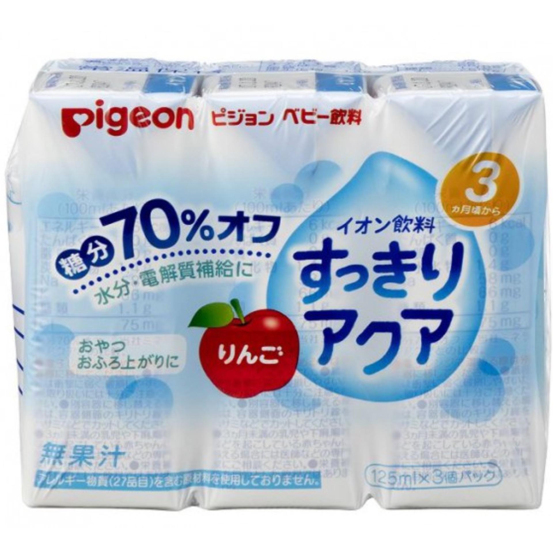 Vỉ 3 hộp nước táo bổ sung Ion điện giải cho bé từ 3 tháng Pigeon 13771 (125mlx3)