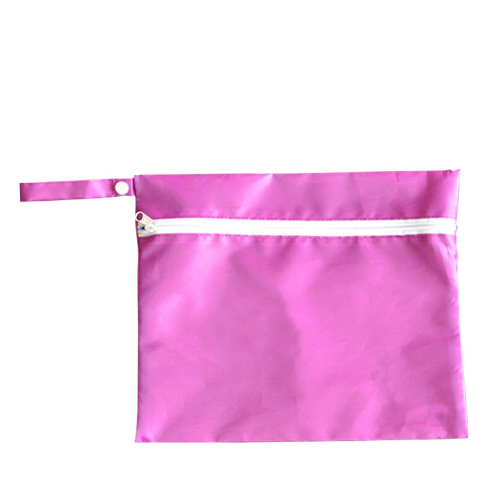 Waterproof Baby Infant Wet Dry Cloth Zip Stroller Buggy Hanging Organizer Zipper Bag Pack Red - intl