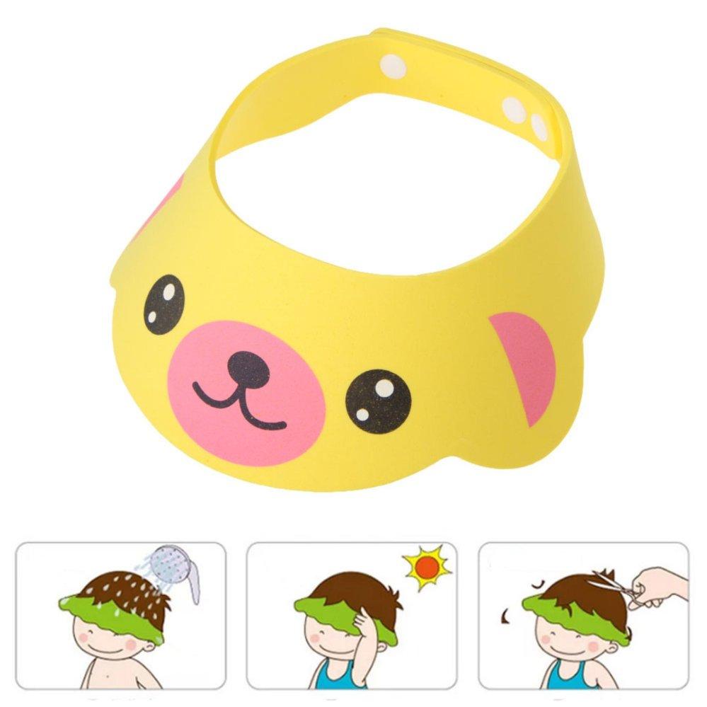 Yellow Adjustable Baby Kids Shampoo Cap Bath Shower Cap Wash Hair Shield - intl