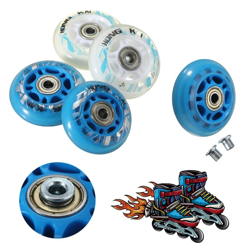 Mua 4 Pcs 64mm 82A Replacement Wheels Rollerblade Skating Inline Skate Shoes Blue - intl