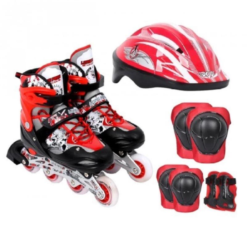 Phân phối Bộ Giày Patin PTB PT01 + Găng Tay + Mũ Bảo Hiểm Size M (35 – 38) (Đỏ)