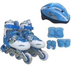 Bộ Giày Patin PTB PT01 + Găng Tay + Mũ Bảo Hiểm Size M (Xanh nhạt).