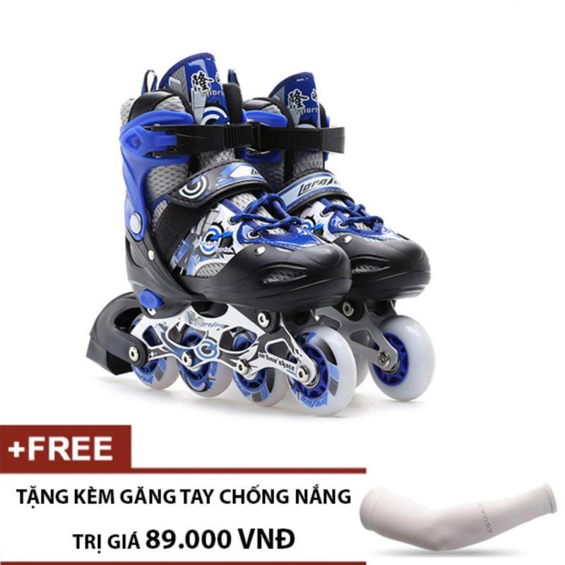 Phân phối Giày Trượt Patin Trẻ Em Long Feng 906 (Xanh Đen) - Tặng kèm găng tay chống nắng