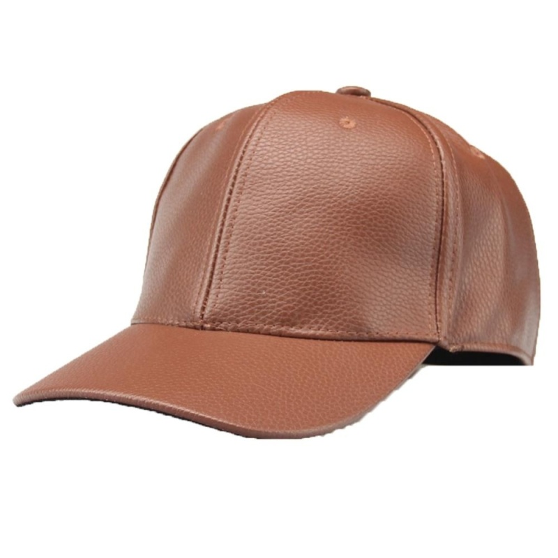 Phân phối PU Leather Solid Color Blank Women Men Hiphop Ajustable Flat Visor Baseball Cap Red Color:Khaki - intl