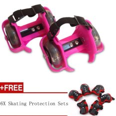 Sporting Pulley Heel Roller Skate Lighted Flashing Roller Skates+Free Protective Gear Sets(Pink) - intl