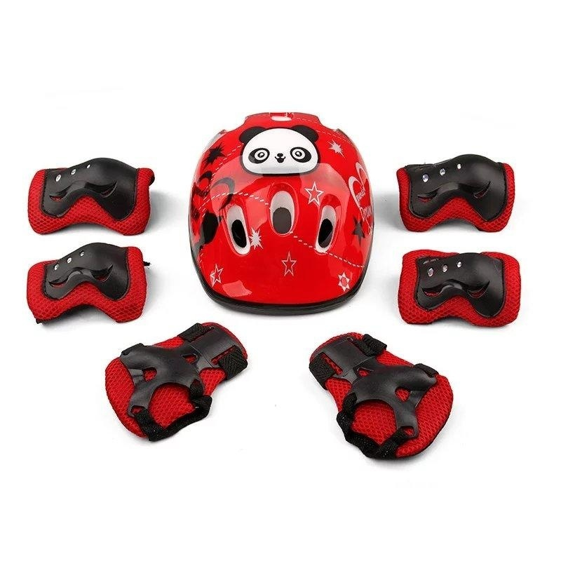Mua Sports Outdoors Skates Parts 7Pcs Kid Safety Set Helmet Protective Gear Elbow Wrist Knee Pads For Skateboard Roller Skating Cycling Sport (Red) - intl