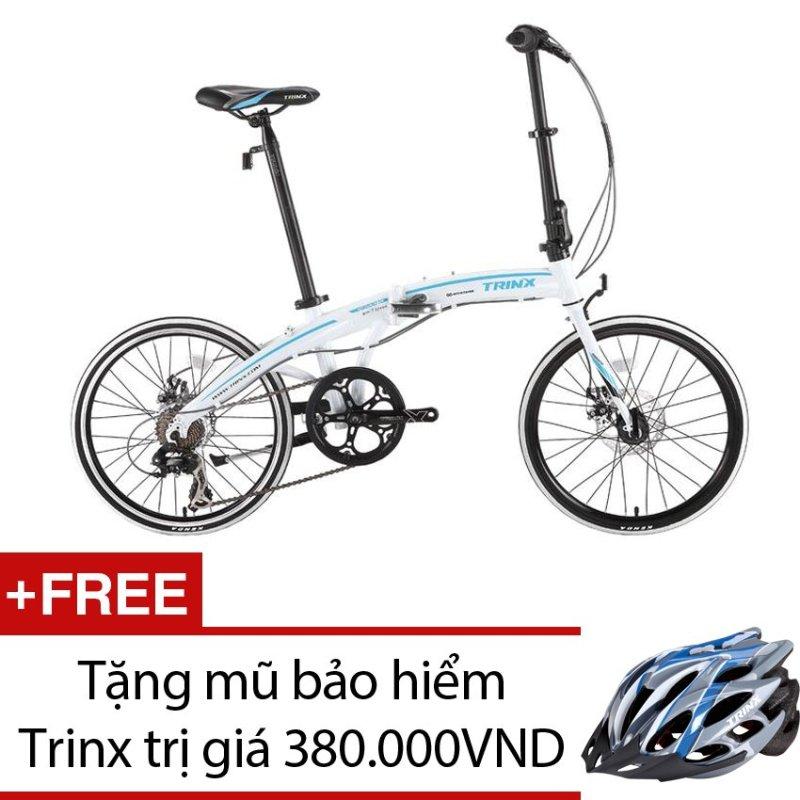 Mua Xe đạp gấp TRINX DA2007D(trắng xanh dương) + Tặng 1 mũ bảo hiểm Trinx