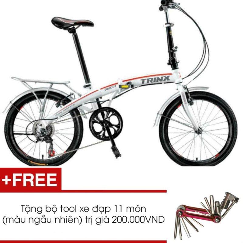 Phân phối Xe đạp gấp TRINX DS2007 (Trắng) + Tặng 1 bộ Tool xe đạp 11 món màu sắc ngẫu nhiên