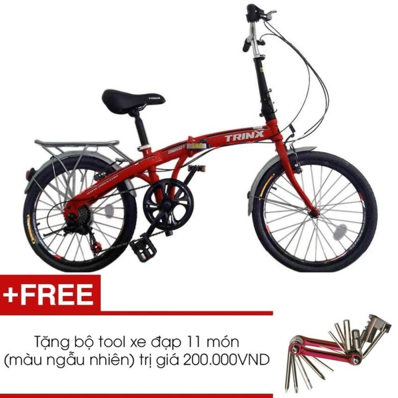 Phân phối Xe đạp gấp TRINX DS2007(Đỏ) + Tặng 1 bộ Tool xe đạp 11 món màu sắc ngẫu nhiên