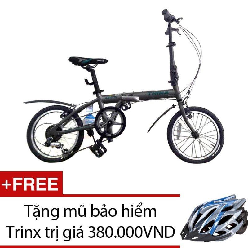 Phân phối Xe đạp gấp TRINX KA1606 (Xám) + Tặng 1 mũ bảo hiểm Trinx