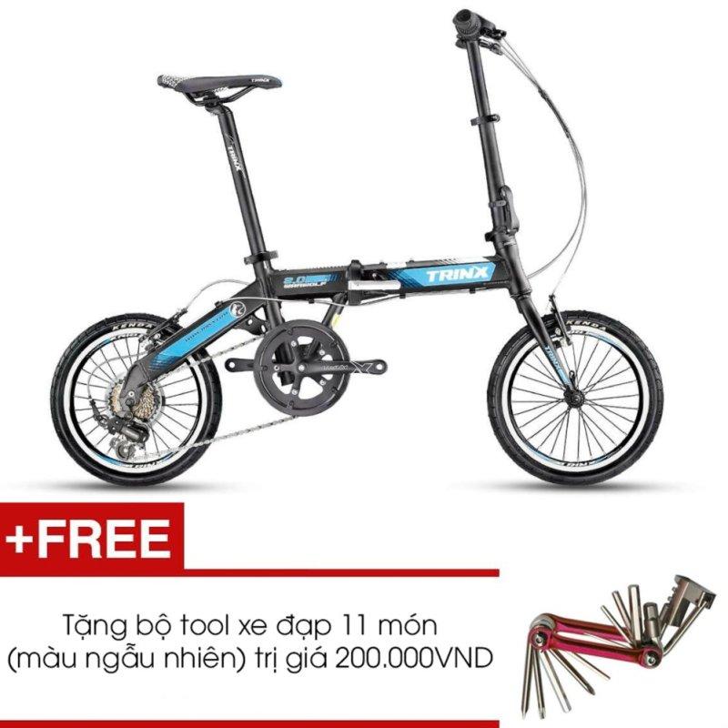 Phân phối Xe đạp gấp TRINX WARWOLF2.0 2016 (đen trắng xanh dương) + Tặng 1 bộ Tool xe đạp 11 món màu sắc ngẫu nhiên