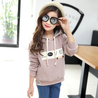 2016 Spring and Autumn Fashion Girls Clothing Sweater Coat LongSleeve Hooded Child Thick and Warm Clothes - intl