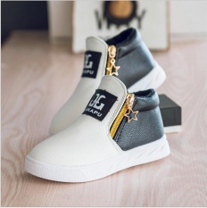 2017 New Fashion Children Breathable Zip Kids Casual Shoes Spring/Autumn Boys Girls Sport Sneakers (EU SIZE 26-36/ White) - intl