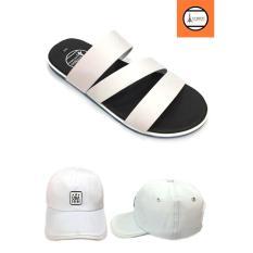 Combo giày dép quai ngang nam thời trang + nón chữ USA trắng GN3D142