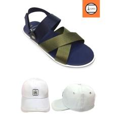 Combo giày sandal nam thời trang + nón chữ USA trắng GN3D9