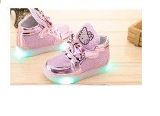 Giày bé gái bata Kitty có đèn SC010 (Hồng)