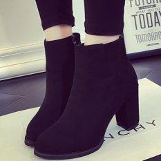 Giày boot nữ cổ ngắn đế vuông đơn giản da lộn GBN13401