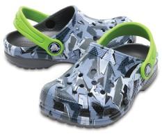 Giày lười bé trai Crocs Classic Graphic Clog K Camo 204816-960 (Xám)