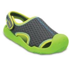 Giày lười bé trai Crocs Swiftwater Mesh Sandal K Gpt/VGr 204024-0A1 (Green)