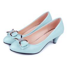 Giày Mũi Tròn Gót Cao 3 Cm (Xanh)