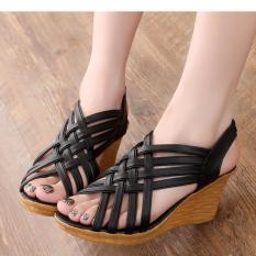 Giày nữ sandal đế xuồng 7cm quai đan chéo màu đen thời trang sành điệu