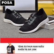 Giày Sneaker Thể Thao Nam Cá Tính POSA PS006 (Đen) Tặng Áo