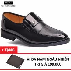 Giày Tây Da Nam Kiểu Xỏ Zapas GT005 (Đen) + Tặng Ví Nam