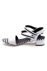 Giày xăng đan gót trụ pha sọc Senta THN16 (Trắng)