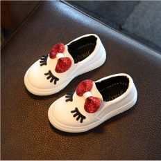Girls Sneakers New Spring Autumn Cute Bow Fashion Princess Girls Shoes Kids Soft Casual Shoes (EU SIZE 21-36 / White) - intl