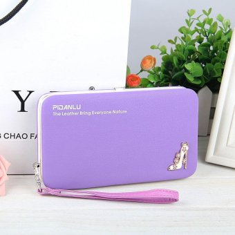 Multi-function Woman Long Wallet Mobile Phone Bag - Purple