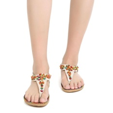 Sales Bohemia Beaded Slip On Flat Beach Sandals (Beige) - intl