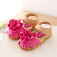 sandal hoa trùm cho bé hồng đậm