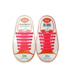 Set of 12pcs Children No Tie Silicone Elastic Shoelace Sneaker Shoe Laces (Rose Red) - Intl