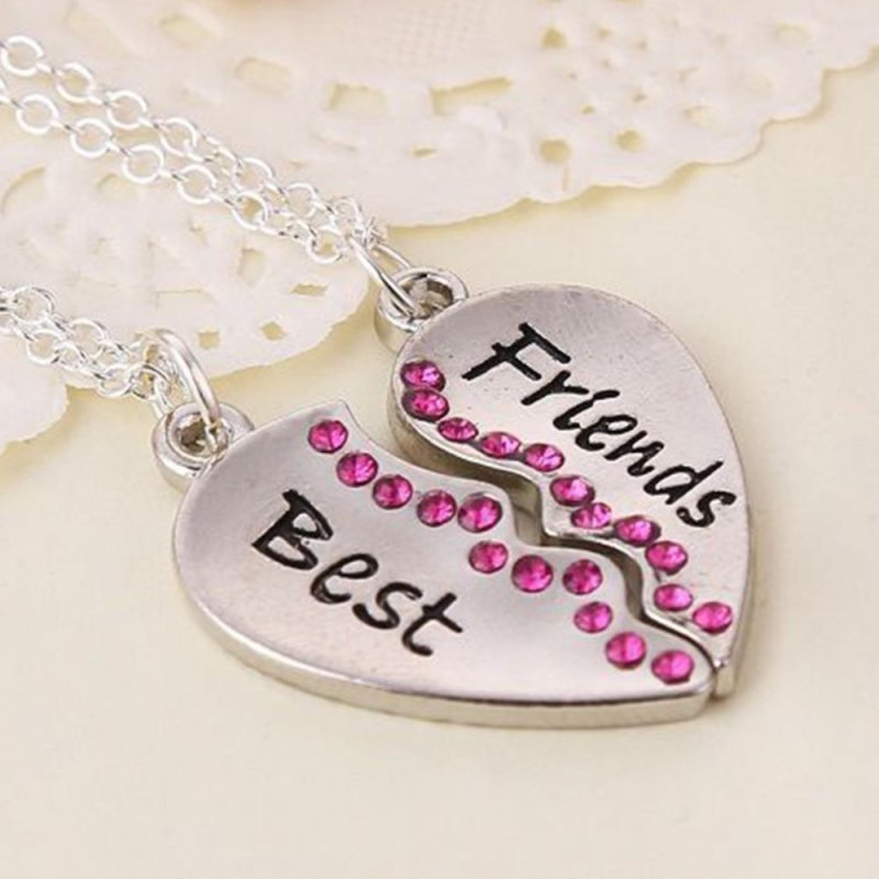 2PCs/Set BEST FRIENDS Broken Heart Pendant Red Rhinestone Necklace Chain Gift - intl