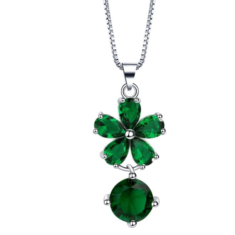 Bigood Women's Sweet Flower CZ Necklace&Earrings&Ring Jewelry Sets Gift Green - intl