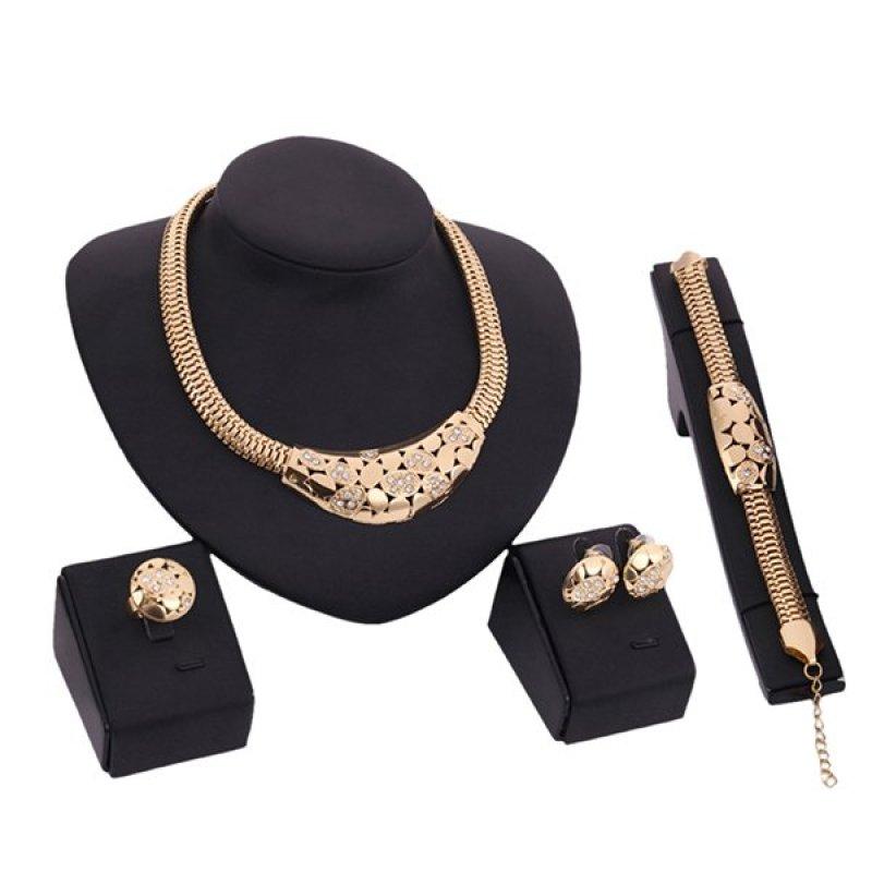 Bluelans® Women's Hollow Rhinestone Choker Bracelet Ring Earrings Clasp Jewelry Set (Intl)