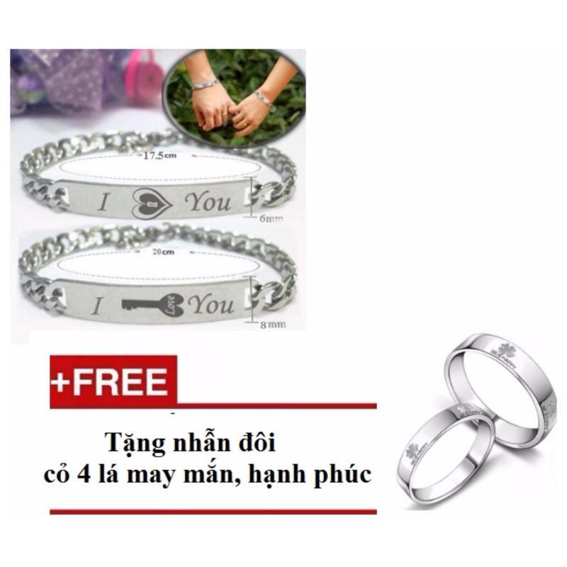 Bộ lắc tay đôi khắc chữ ý nghĩa LF009 (Tặng kèm nhẫn đôi)