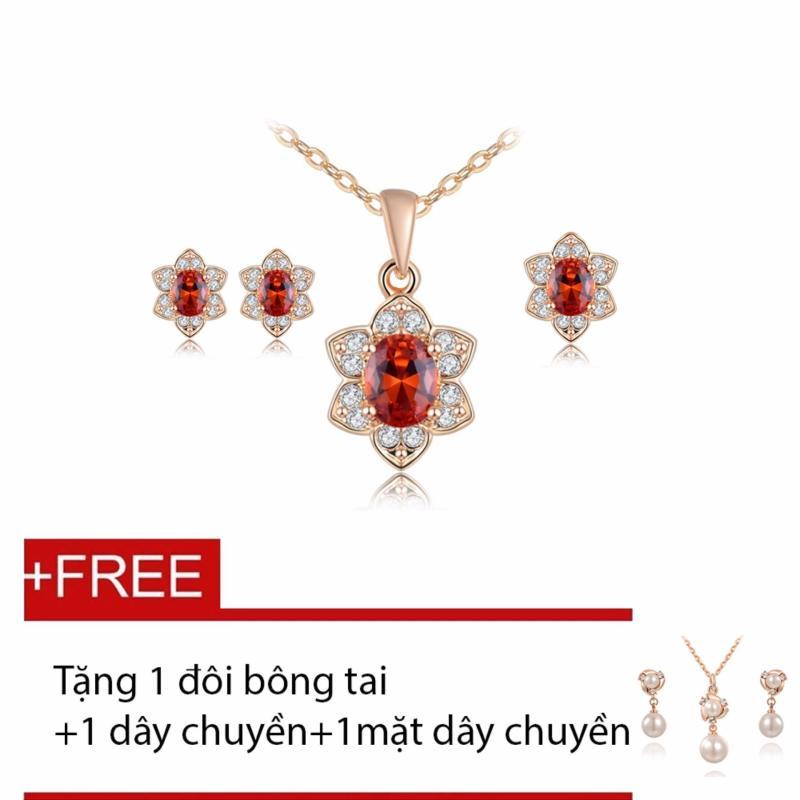 Bộ nữ trang mạ vàng cao cấp Sen Phú Quý SHOWME- Tặng 1 đôi bông tai, 1 dây chuyền, 1mặt dây chuyền