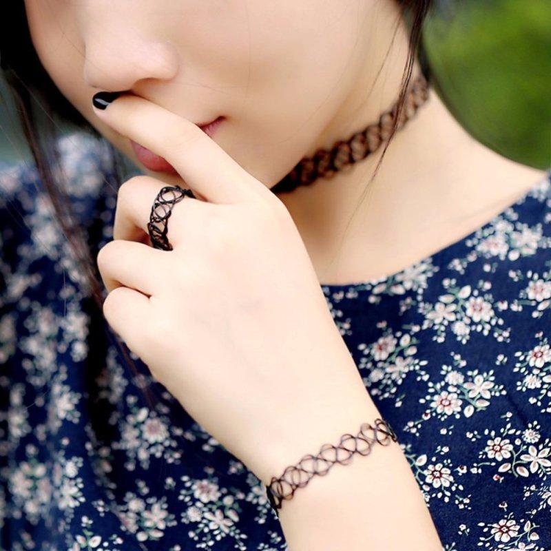 Bộ Tattoo Đơn giản (Vòng cổ, vòng tay, nhẫn)