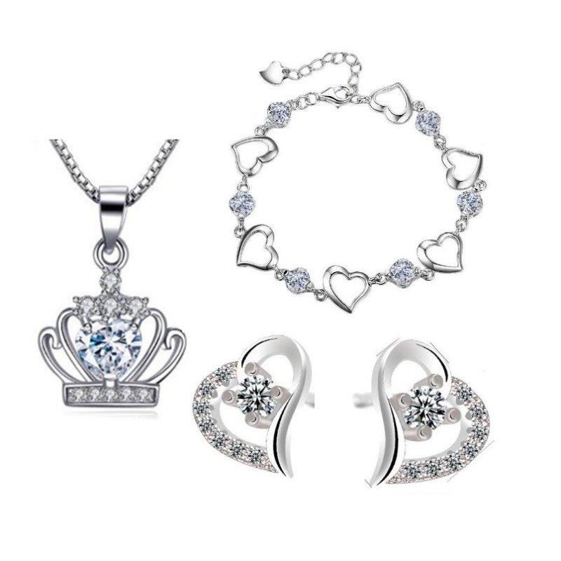 Bộ trang sức bạc vương miện đá trắng trẻ trung
