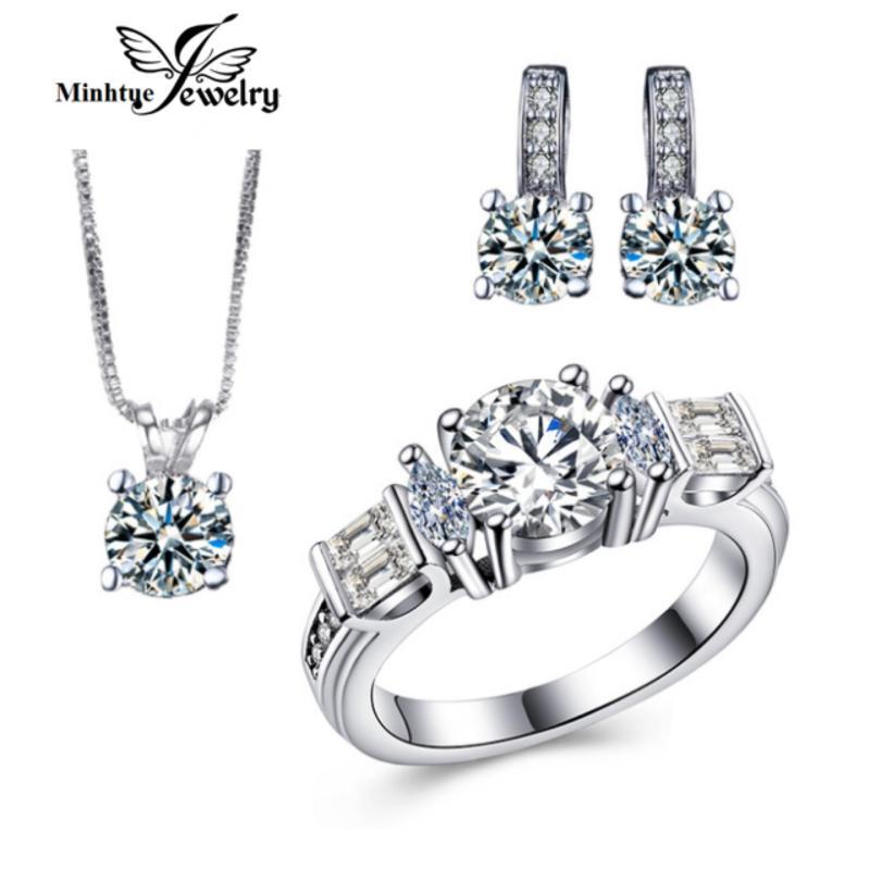 Bộ trang sức cao cấp hợp kim, bạc 925 xi bạch kim SBT04A