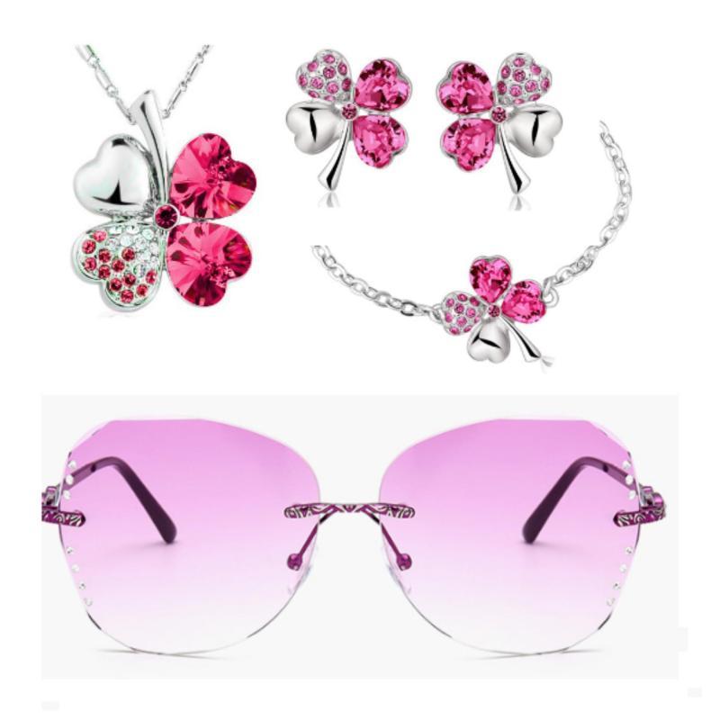 Bộ trang sức cỏ 4 lá may mắn và kính mắt thời trang màu tím hồng