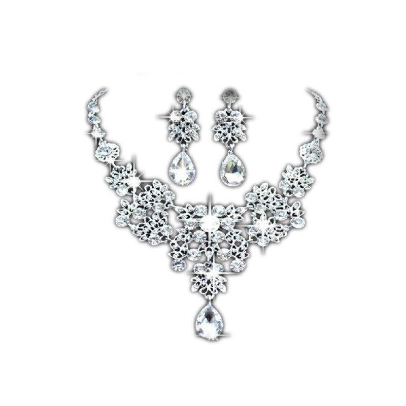 Bộ trang sức cưới chất liệu đá pha lê - Màu bạc