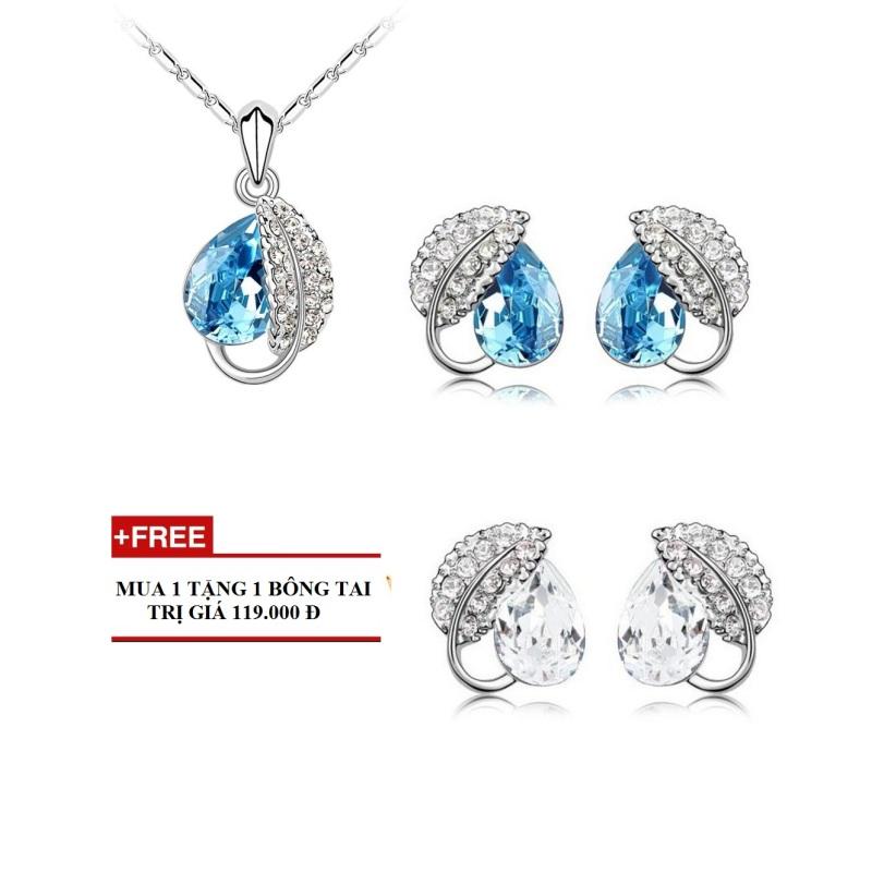 Bộ trang sức giọt sương đính đá màu xanh + Tặng 1 bộ trang sức